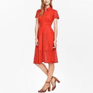 Ann Taylor Eyelet Flare Button Down Shirt Dress